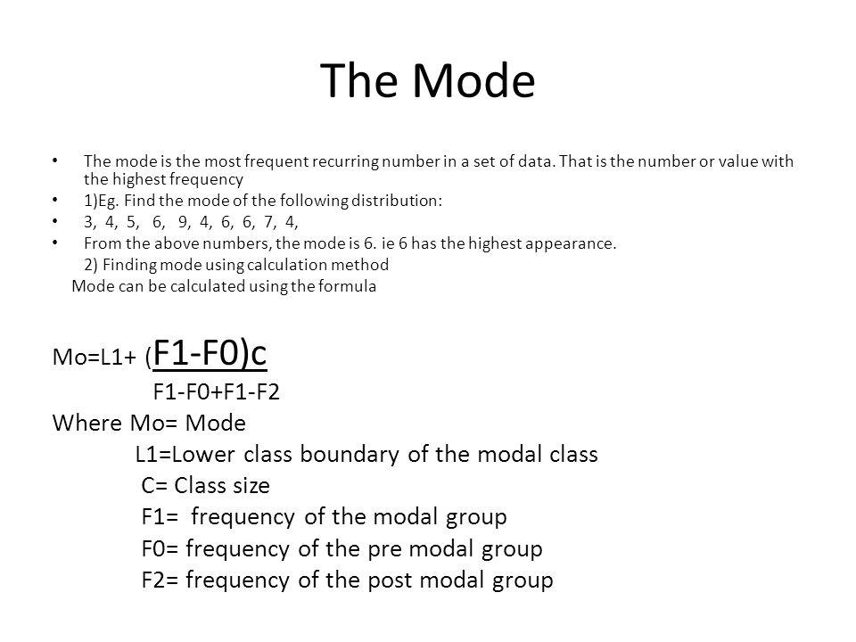 The Mode Mo=L1+ (F1-F0)c F1-F0+F1
