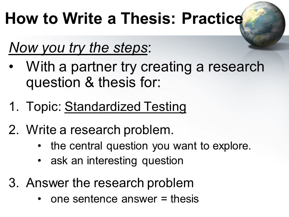 how to write a thesis for research paper Thesis statement for a research paper is something you can't do without papersmastercom is ready to help you make it right.