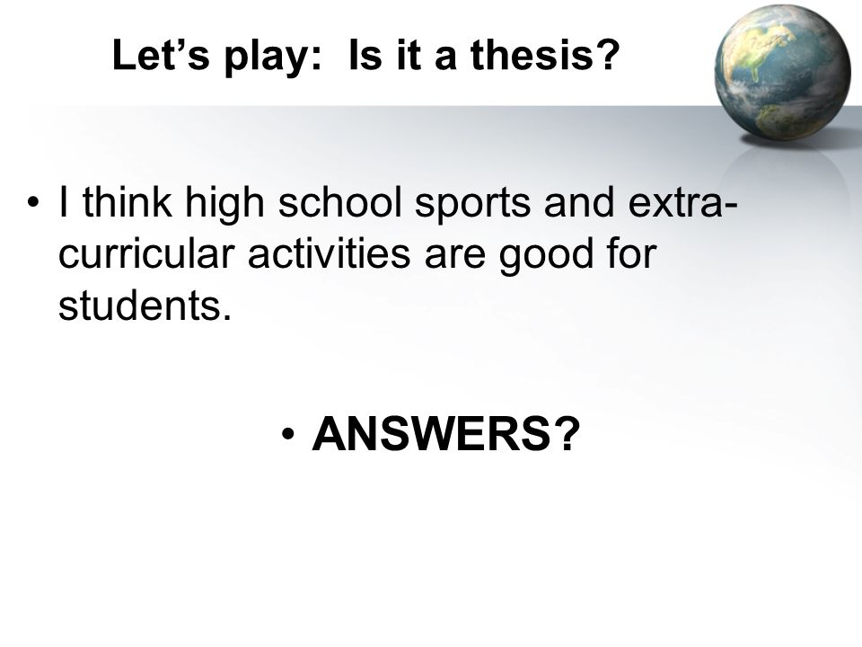 finding the thesis statement activity Help with thesis statements including free printables, games, and a slideshow for how to write a thesis statement.