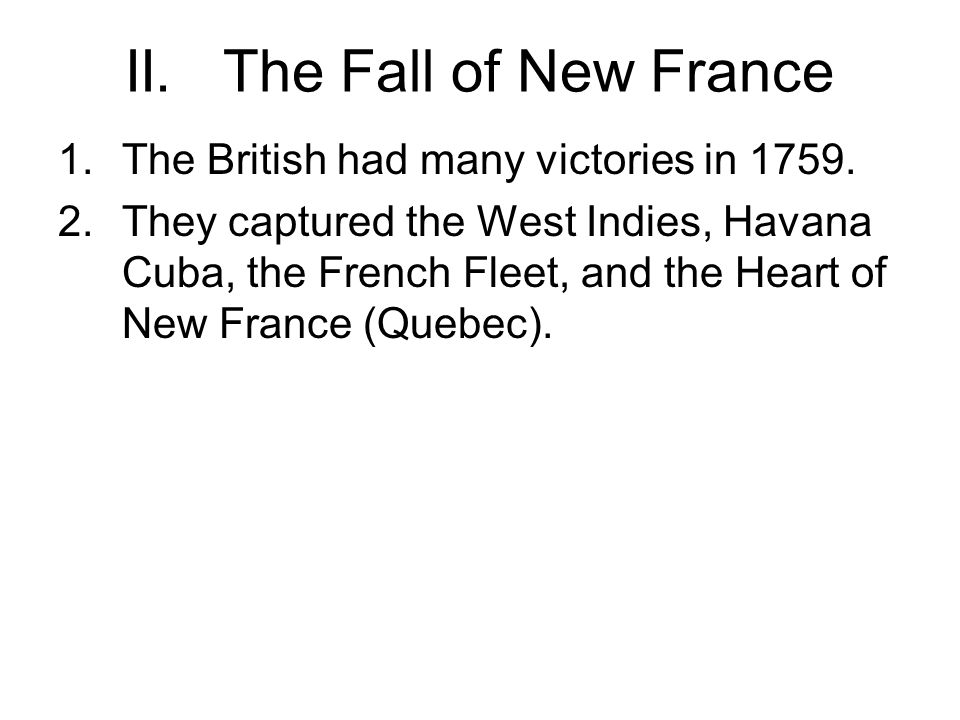 II. The Fall of New France
