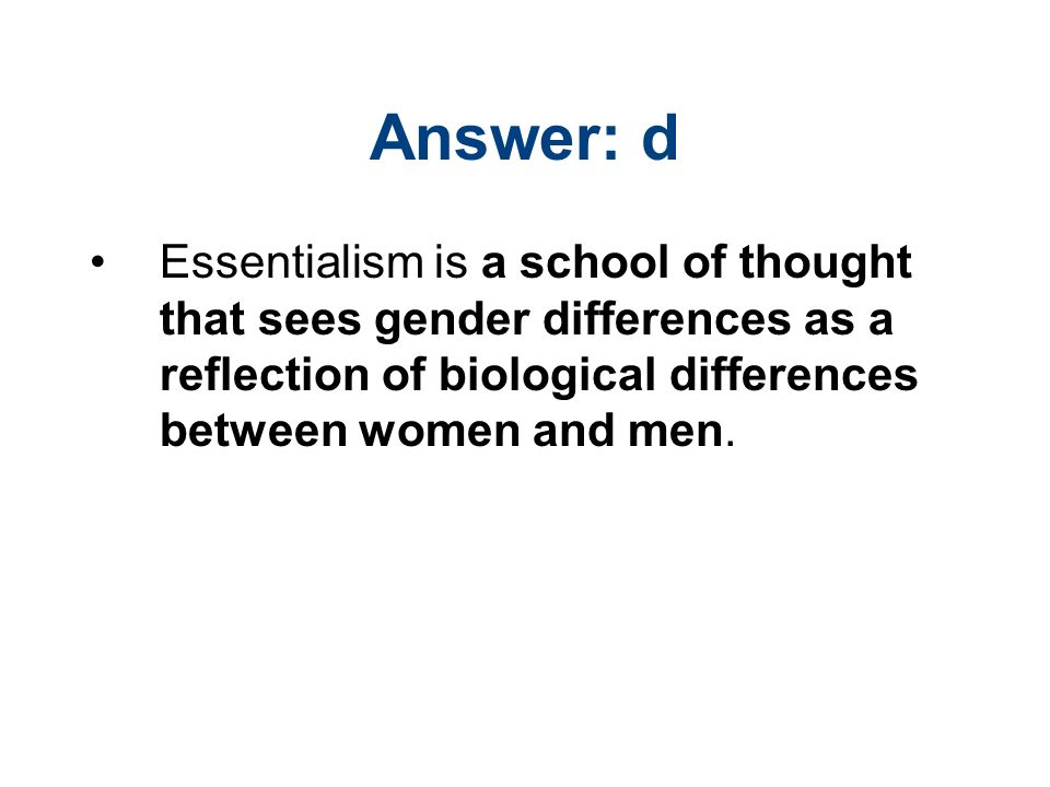 """biological differences between men and women essay A gender based adjectival study of women's and """"sex is biological will this difference between men and women""""s language show in the results of a survey."""