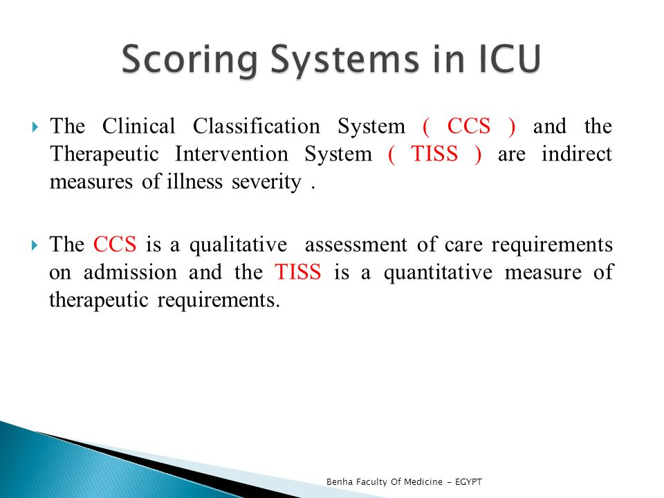 scoring sytems in icu Crit care & shock 2009 vol 12, no 4 157 comparison of apache ii, sofa, and modified sofa scores in predicting mortality of surgical patients in intensive care unit at.
