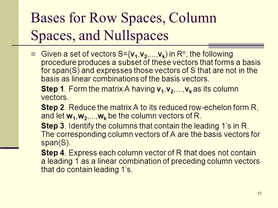 how to find the column space of a matrix