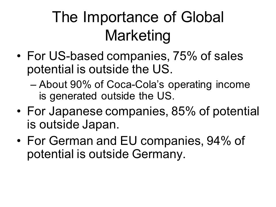 importance of international advertising 0 in global marketing the modus operandi is very different organisations begin to develop and run operations in the targeted country or countries outside of.