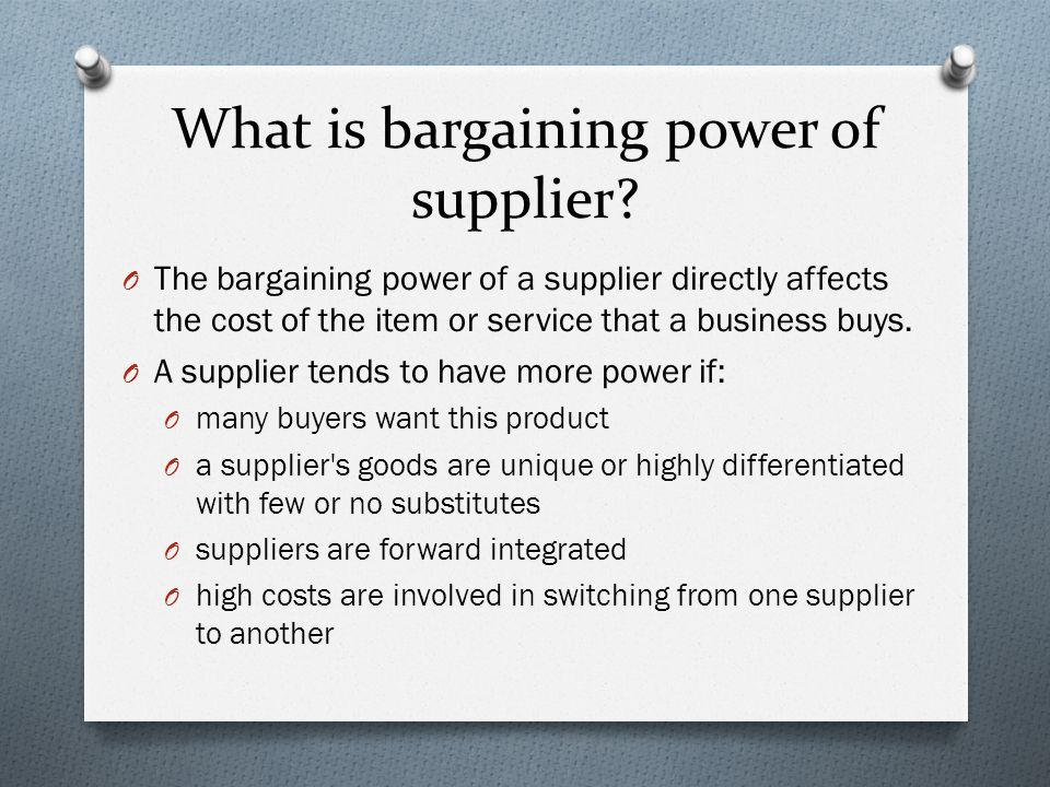 microsoft bargaining power of suppliers Ev: overall, the power of software suppliers like microsoft is high due to the limited number of suppliers in the market, the highly differentiated operating software, and the high switching cost however, since the recent merge of nokia and microsoft, this bargaining power may not be so significant.