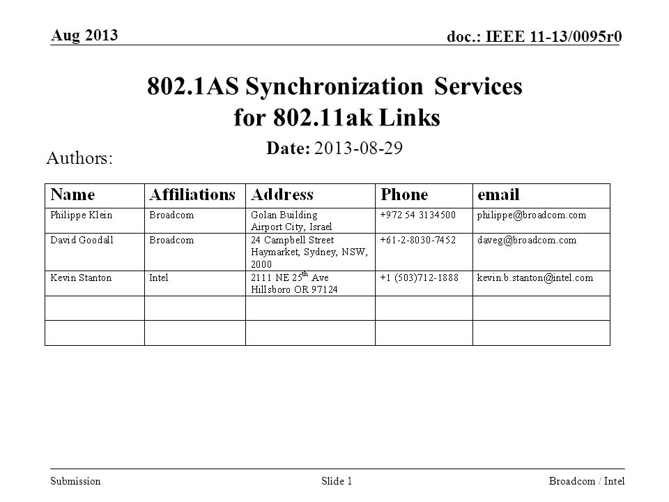 802.1AS Synchronization Services for ak Links