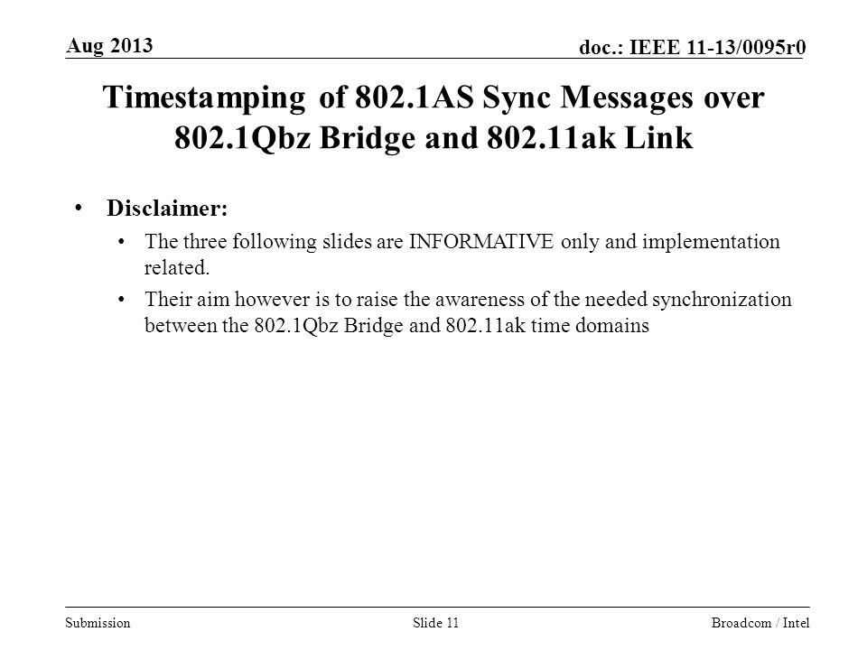 Aug 2013 Timestamping of 802.1AS Sync Messages over 802.1Qbz Bridge and ak Link. Disclaimer: