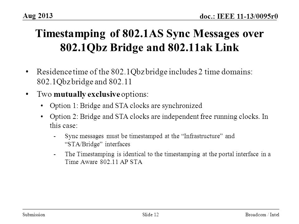 Aug 2013 Timestamping of 802.1AS Sync Messages over 802.1Qbz Bridge and ak Link.