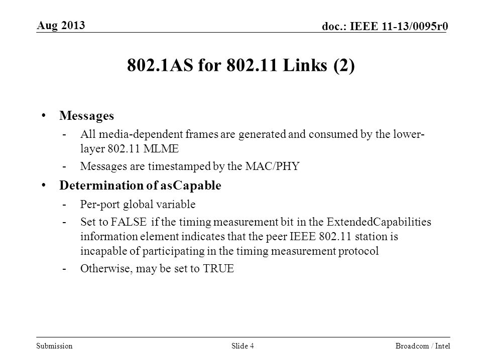 802.1AS for Links (2) Messages Determination of asCapable