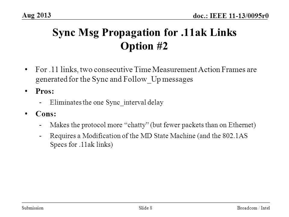 Sync Msg Propagation for .11ak Links Option #2