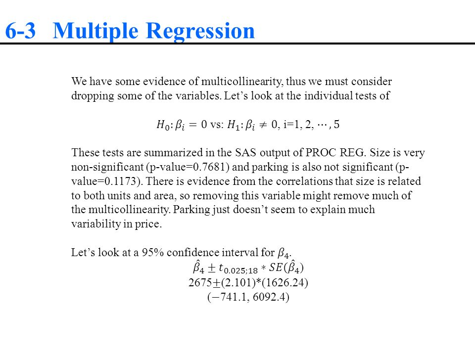 how to find confidence interval for multiple regression