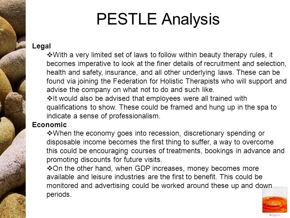 massage therapy pest analysis One of the first steps before making an investment is to do an industrial analysis of the  beauty industry analysis  salons, massage.