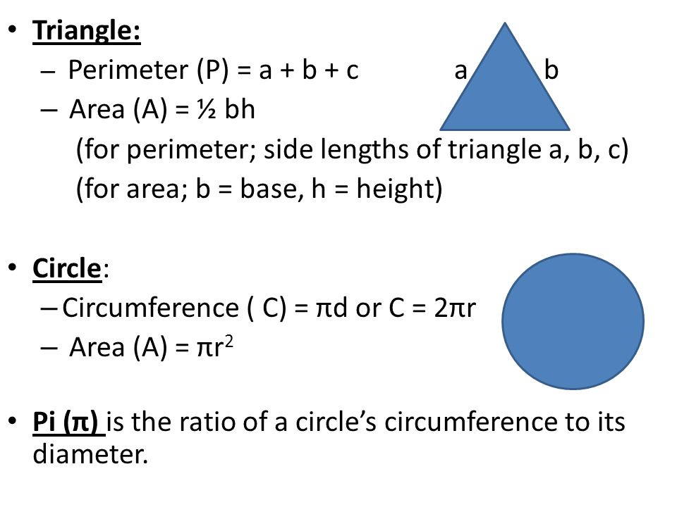 Chapter 17 notes find perimeter circumference and area ppt for perimeter side lengths of triangle a b c ccuart Image collections