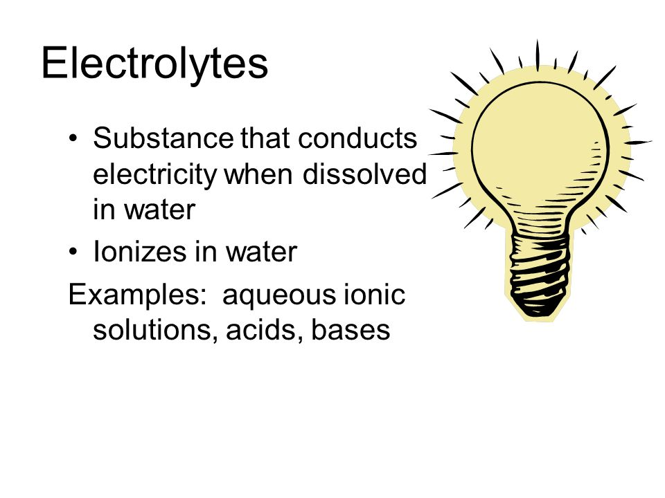 a look at electrolytes and how ions conduct electricity In order for a solution to conduct electricity there must be electrical charges in the   ions, and which therefore conducts electricity, is called an electrolyte  see  that two of the ions appear in exactly the same way on both sides of the equation.