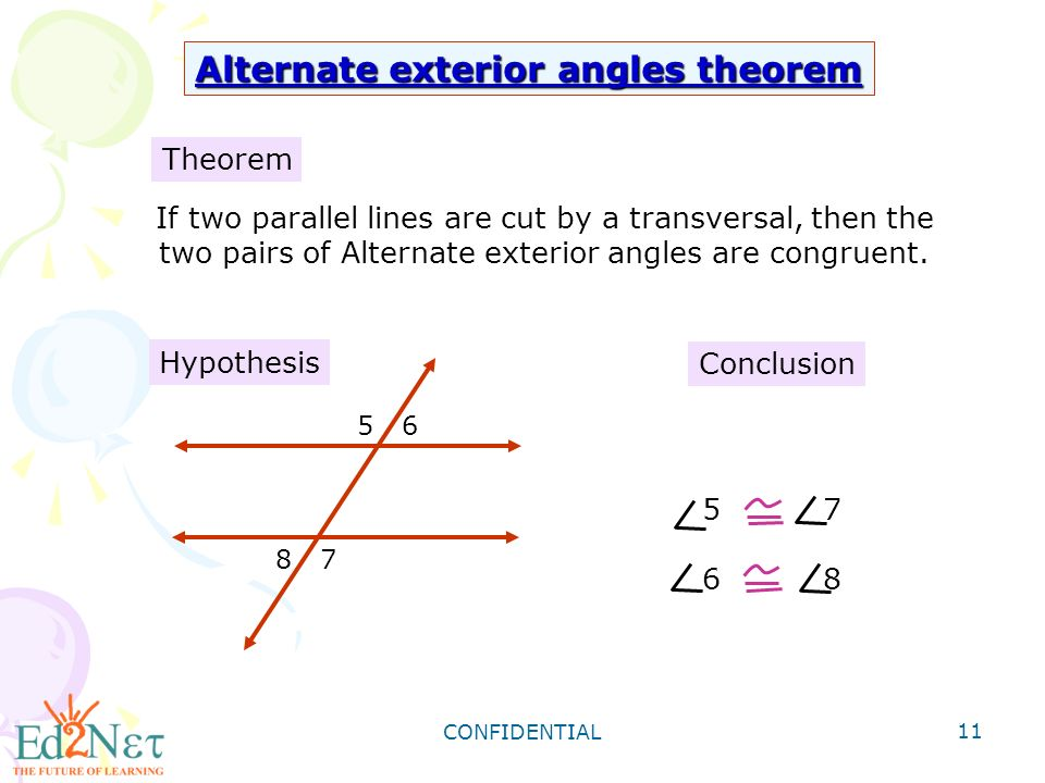 Geometry angles formed by parallel lines and transversals ppt video online download for Alternate exterior angles conjecture