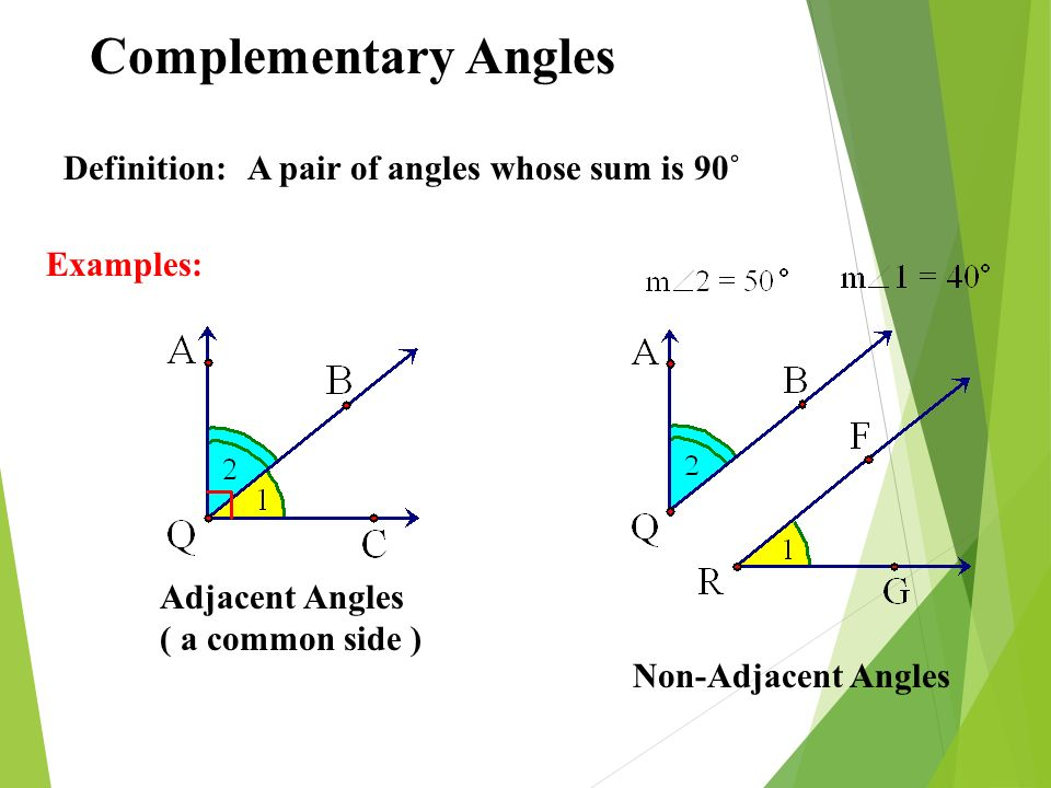 Complementary Angles Definition: A pair of angles whose sum is 90˚