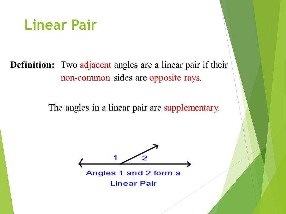 Linear Pair Definition: Two adjacent angles are a linear pair if their