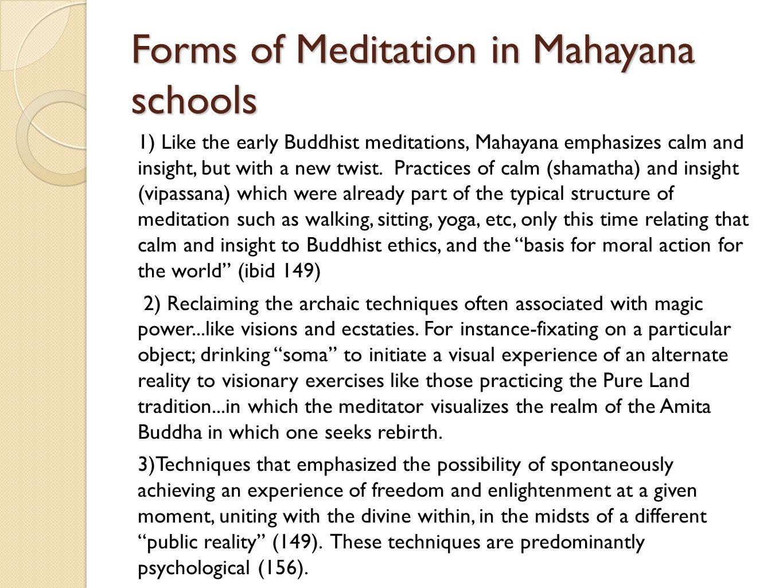 Forms of Meditation in Mahayana schools