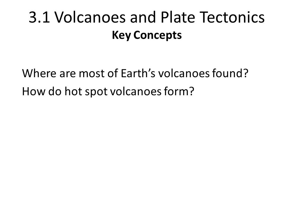 Inside Earth Chapter 3 Volcanoes 31 Volcanoes And Plate Tectonics