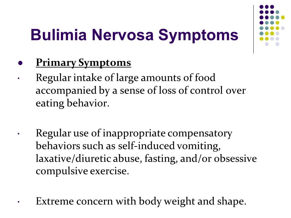 the symptoms and treatment of bulimia nervosa an eating disorder Bulimia affects millions of americans learn about symptoms of bulimia nervosa, such as binging and purging, and bulimia treatment at the ranch.