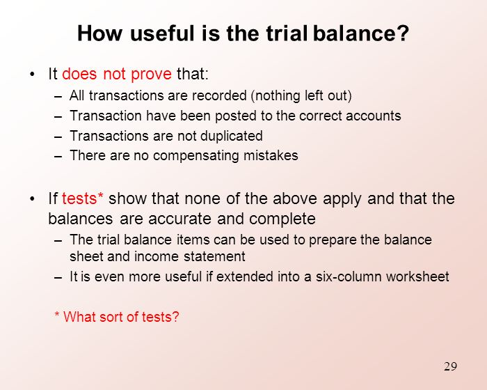 Six Column Trial Balance Worksheet : Bfa accounting context method ppt video online download