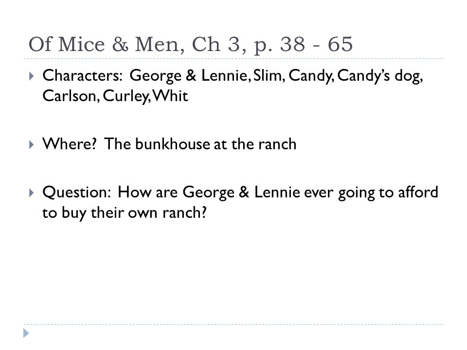 of mice and men essay loneliness candy Essays related to crooks' loneliness in of mice and men 1 essay on of mice and men curly's wife admits to her loneliness when resistance from candy.
