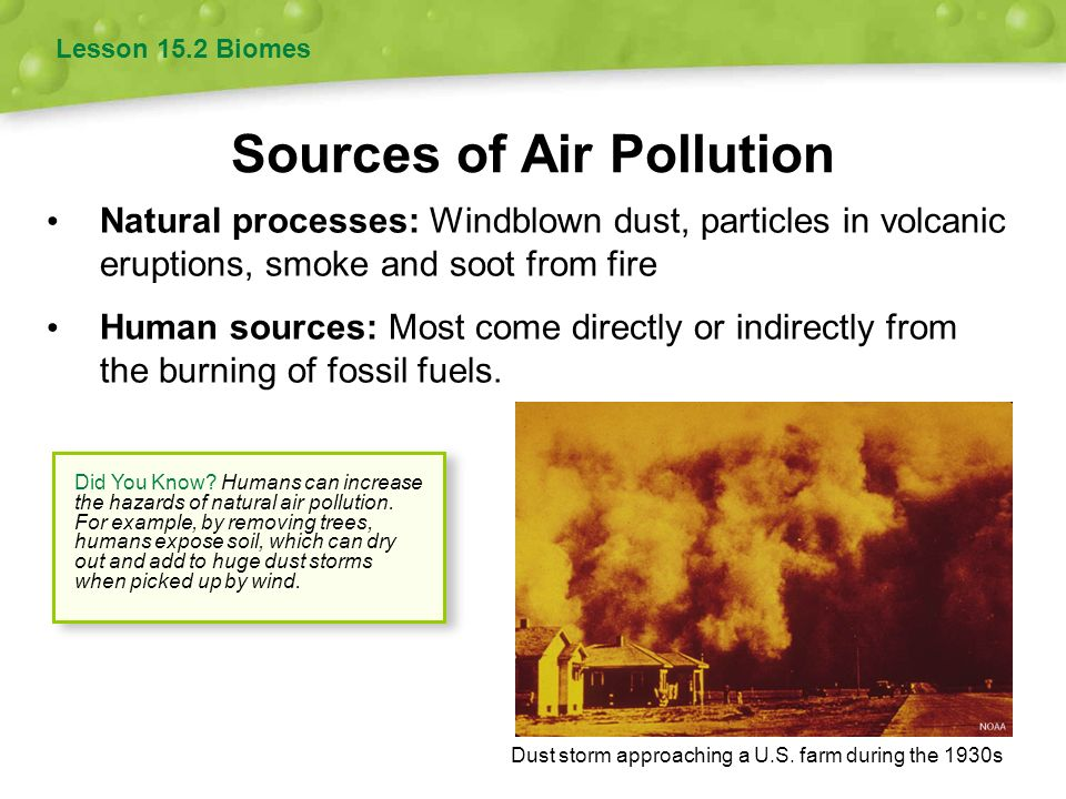 natural sources of air pollution Sulfur dioxide pollution can come from a variety of sources, both natural and  industrial, including volcanoes, oil refineries and the burning of.