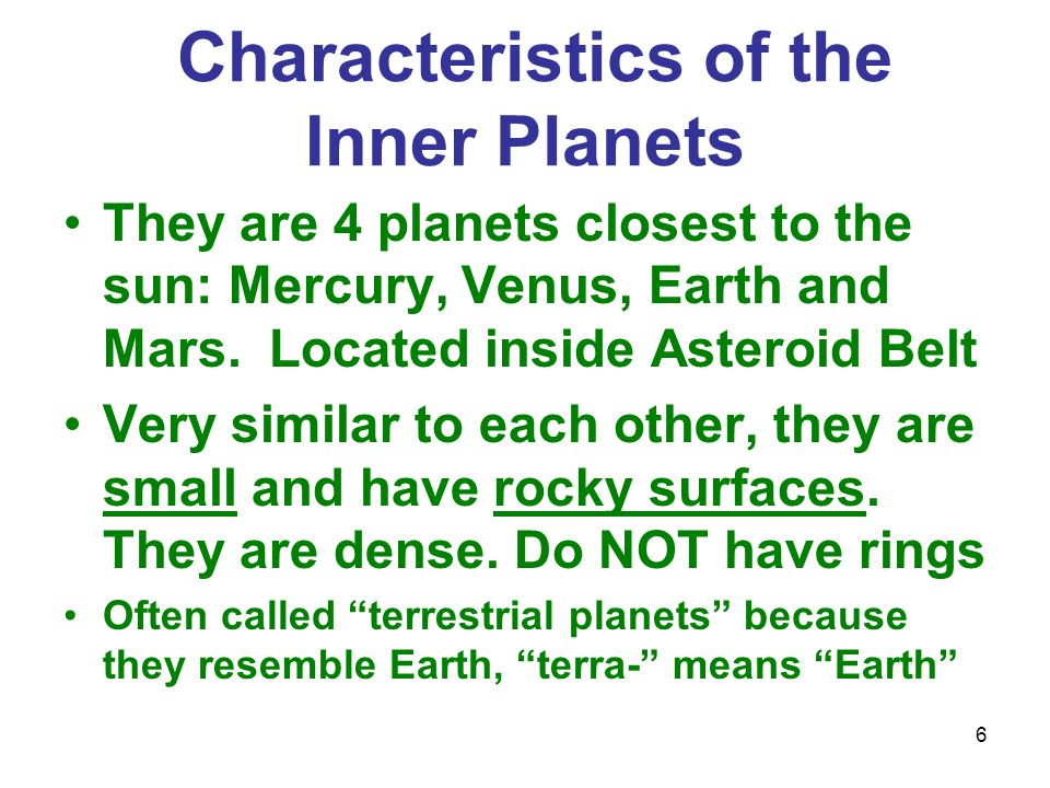 """the similarities between earth and other inner planets The terrestrial planets in our solar system orbit relatively close to the sun, this gives them their other name the """"inner planets"""" earth the terrestrial."""