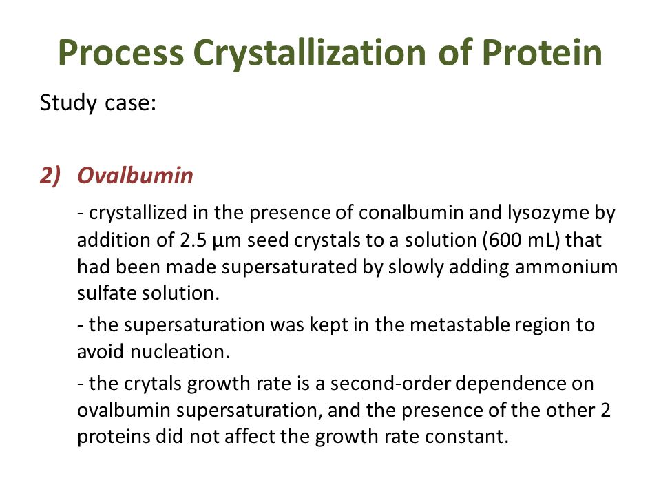 lysozyme crystallization Crystallization conditions of lysozyme the crystallization conditions for lysozyme aresummarized in table 1 two days after the hewl solutions had been mixed with the precipitant nacl, we judged whether lysozyme crystals had grown using a microscope.