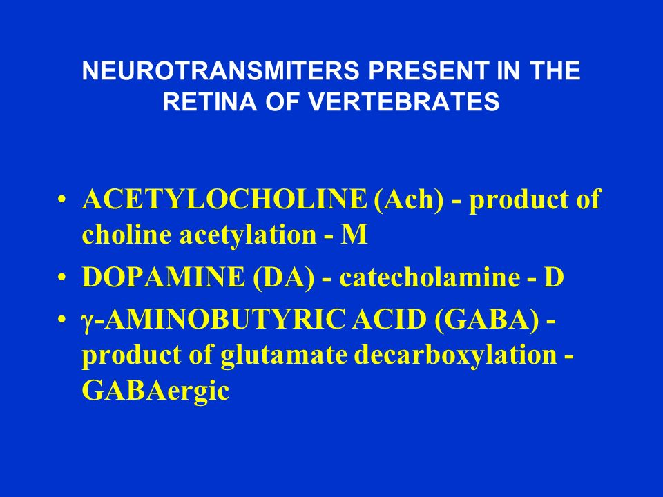 NEUROTRANSMITERS PRESENT IN THE RETINA OF VERTEBRATES