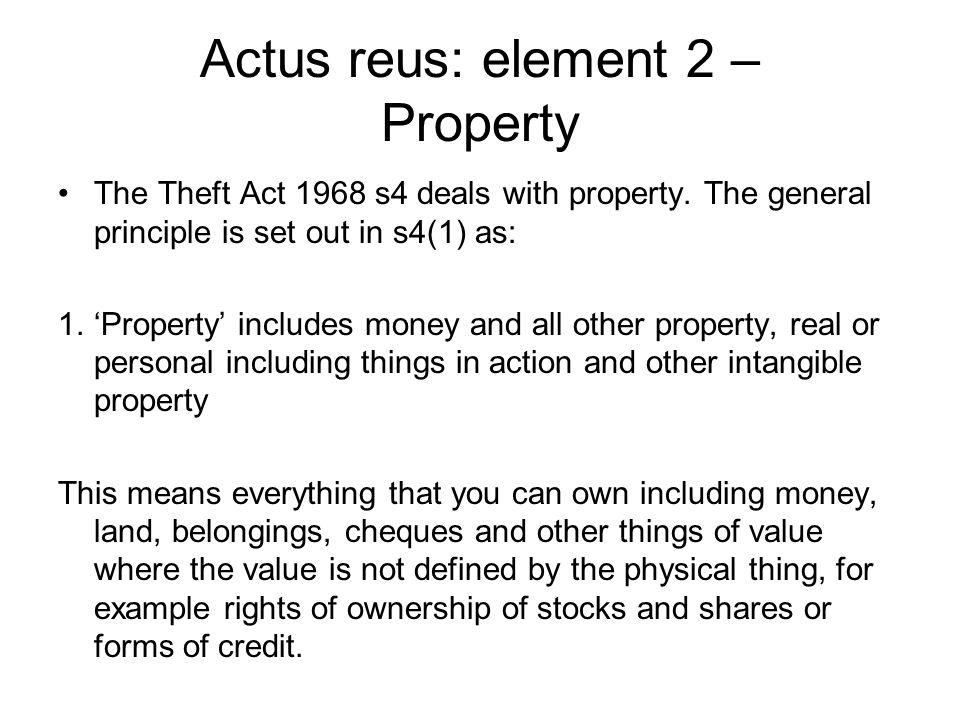 actus reus notes Criminal liability actus reus the actus reus of a crime is the voluntary, deliberate act of the defendant seen in the case of hill v baxter 1958- in this case the court gave examples in a situation where a driver of a car would not be driving voluntary eg being stung by a bee and being hit on the head by a stone.