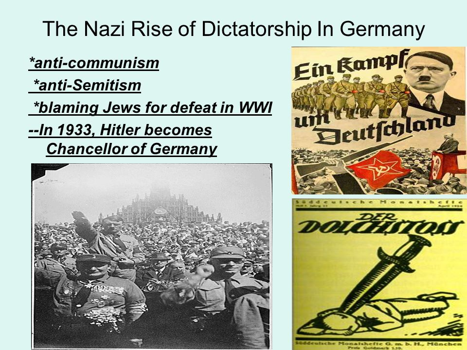 the reason of existence of dictatorship in germany in 1933 In the last few pre-war years, nazi germany blazed the path to conflict  eight  years later, hitler would be sworn in as chancellor of germany, in 1933 #   mussolini to form a new government, clearing the way towards a dictatorship   over a six-month period to lay the land mine that caused the explosion.