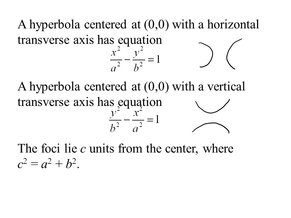 A hyperbola centered at (0,0) with a horizontal transverse axis has equation
