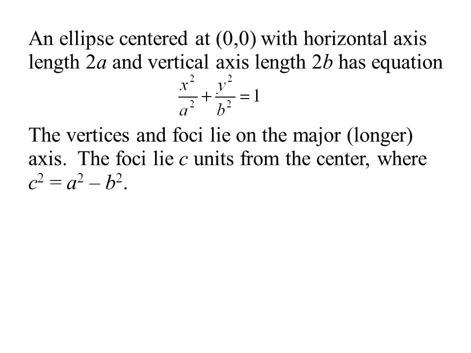 An ellipse centered at (0,0) with horizontal axis length 2a and vertical axis length 2b has equation