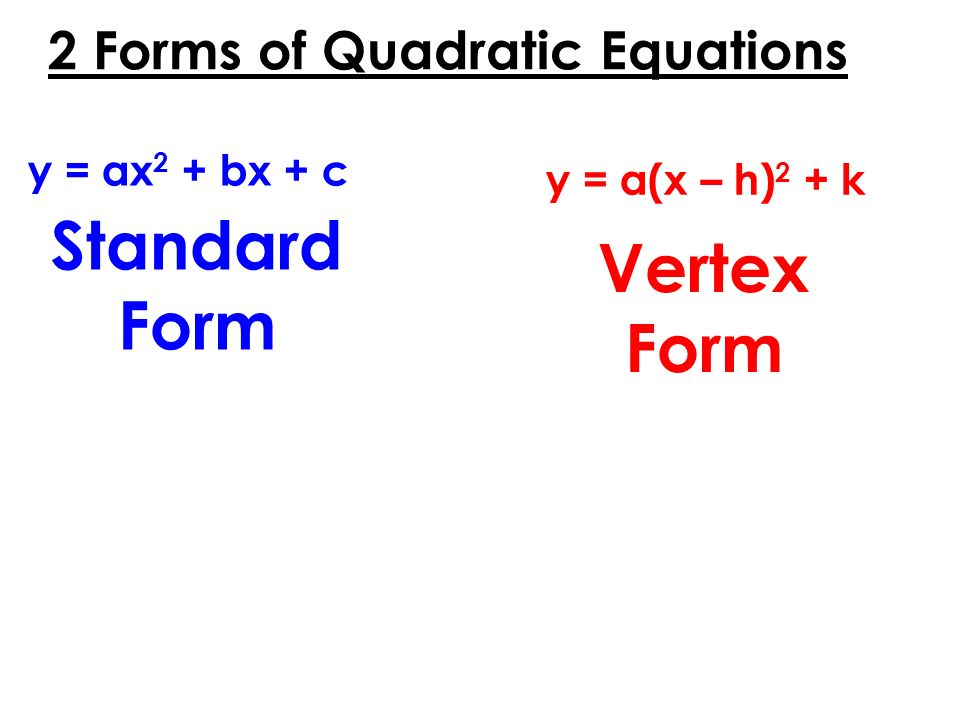 2+Forms+of+Quadratic+Equations Quadratic Equation In Standard Form Examples on