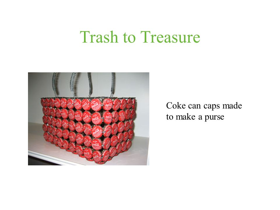 Trash to Treasure Coke can caps made to make a purse