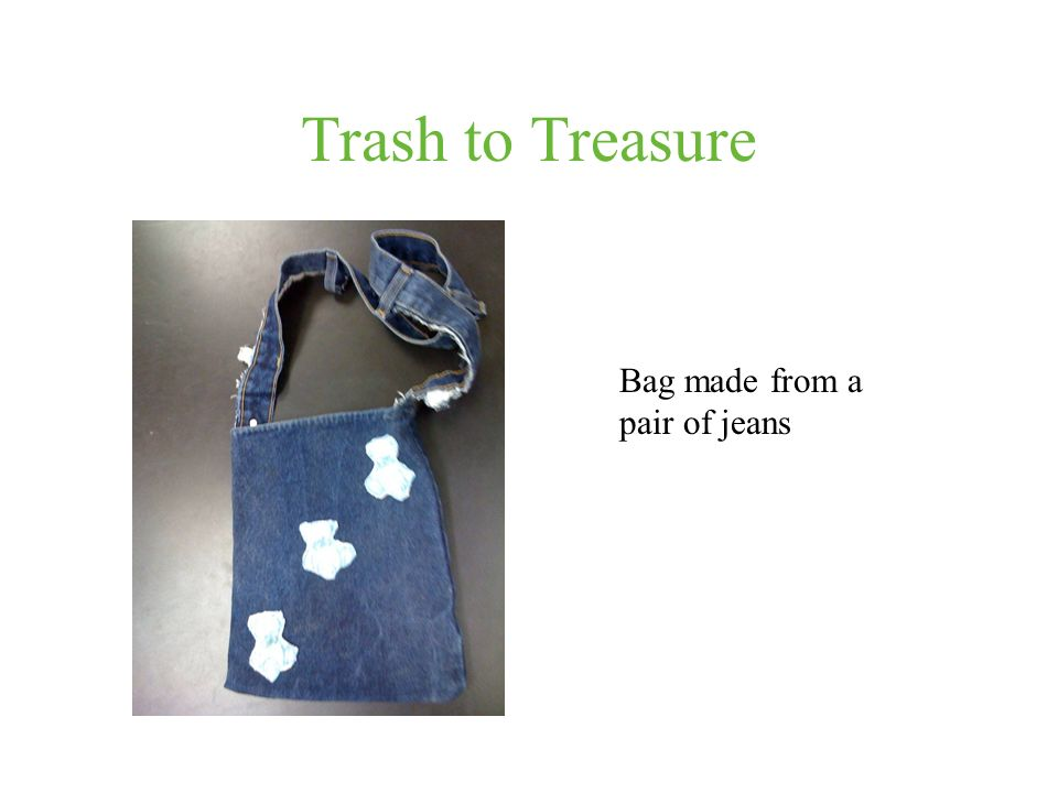 Trash to Treasure Bag made from a pair of jeans