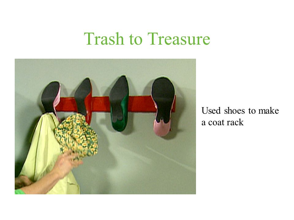 Trash to Treasure Used shoes to make a coat rack