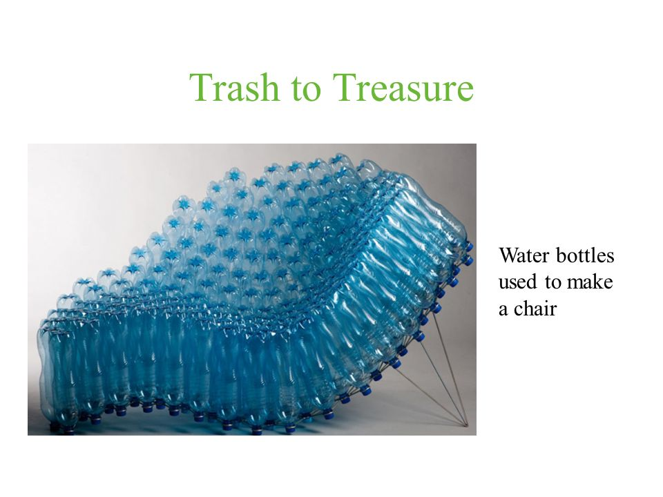 Trash to Treasure Water bottles used to make a chair