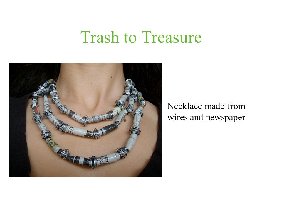 Trash to Treasure Necklace made from wires and newspaper