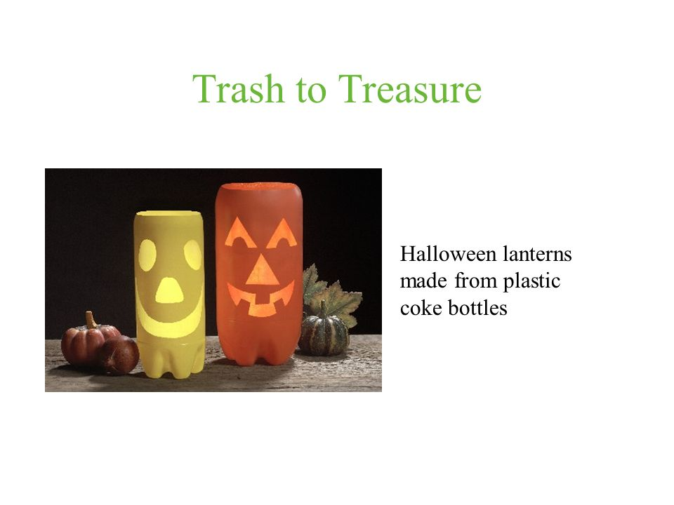 Trash to Treasure Halloween lanterns made from plastic coke bottles