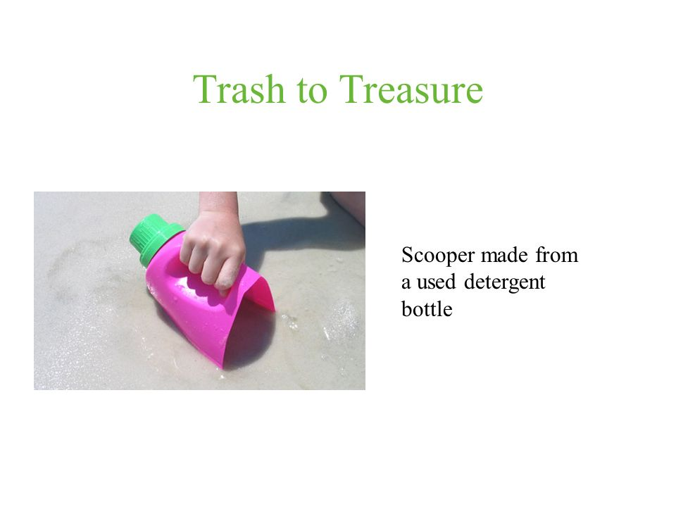 Trash to Treasure Scooper made from a used detergent bottle