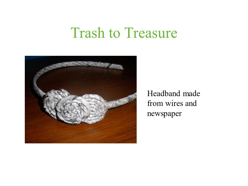 Trash to Treasure Headband made from wires and newspaper