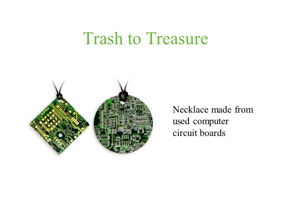 Trash to Treasure Necklace made from used computer circuit boards