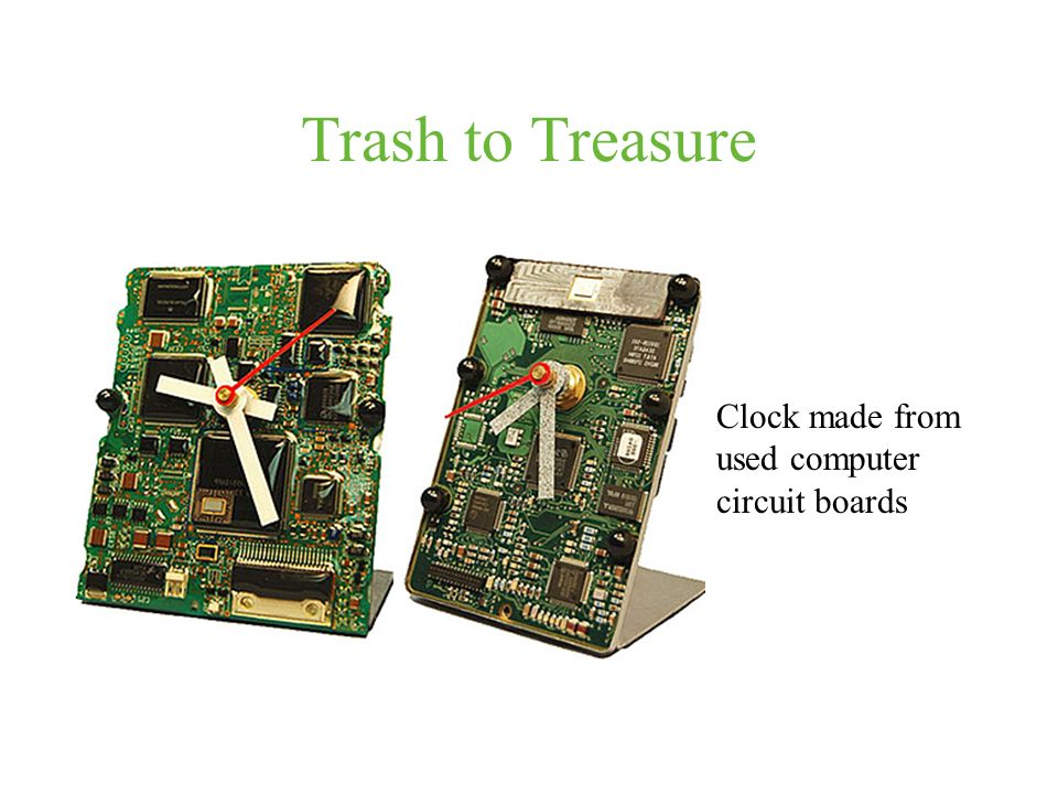 Trash to Treasure Clock made from used computer circuit boards
