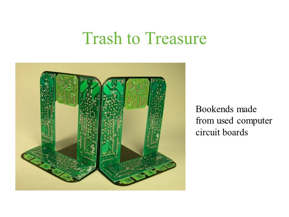 Trash to Treasure Bookends made from used computer circuit boards