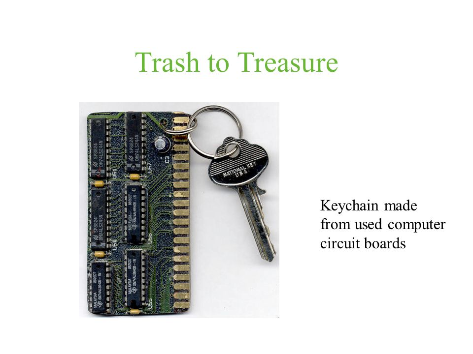 Trash to Treasure Keychain made from used computer circuit boards
