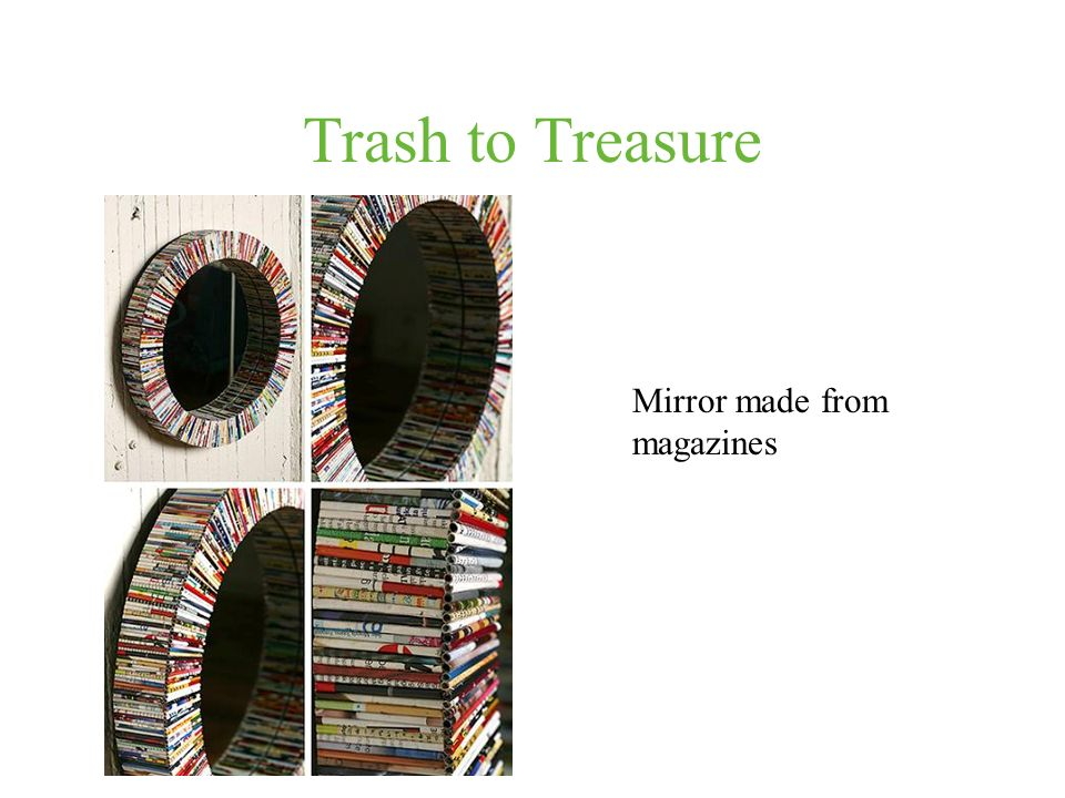 Trash to Treasure Mirror made from magazines