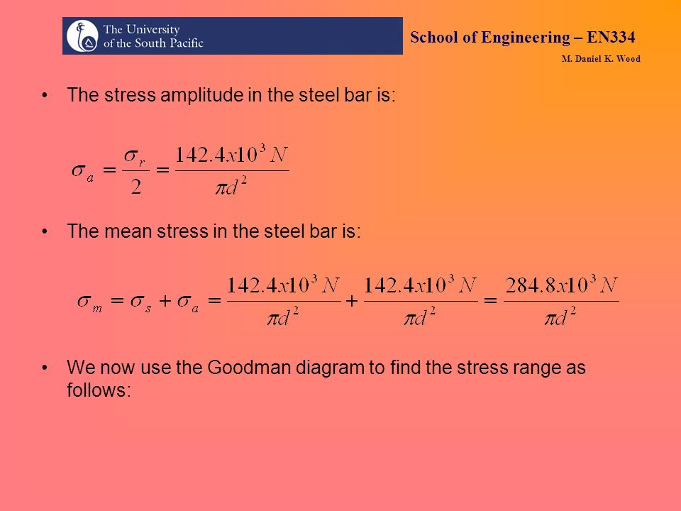 The stress amplitude in the steel bar is: