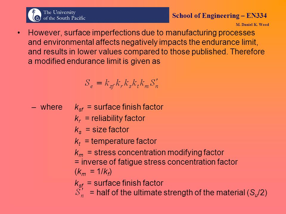 where ksf = surface finish factor kr = reliability factor